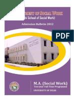 Www.du.Ac.in Fileadmin DU Students PDF Admissions 2012 PG 07052012 Social-work Bulletin