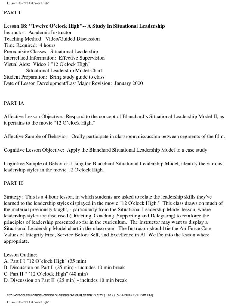 12 o clock high leadership styles