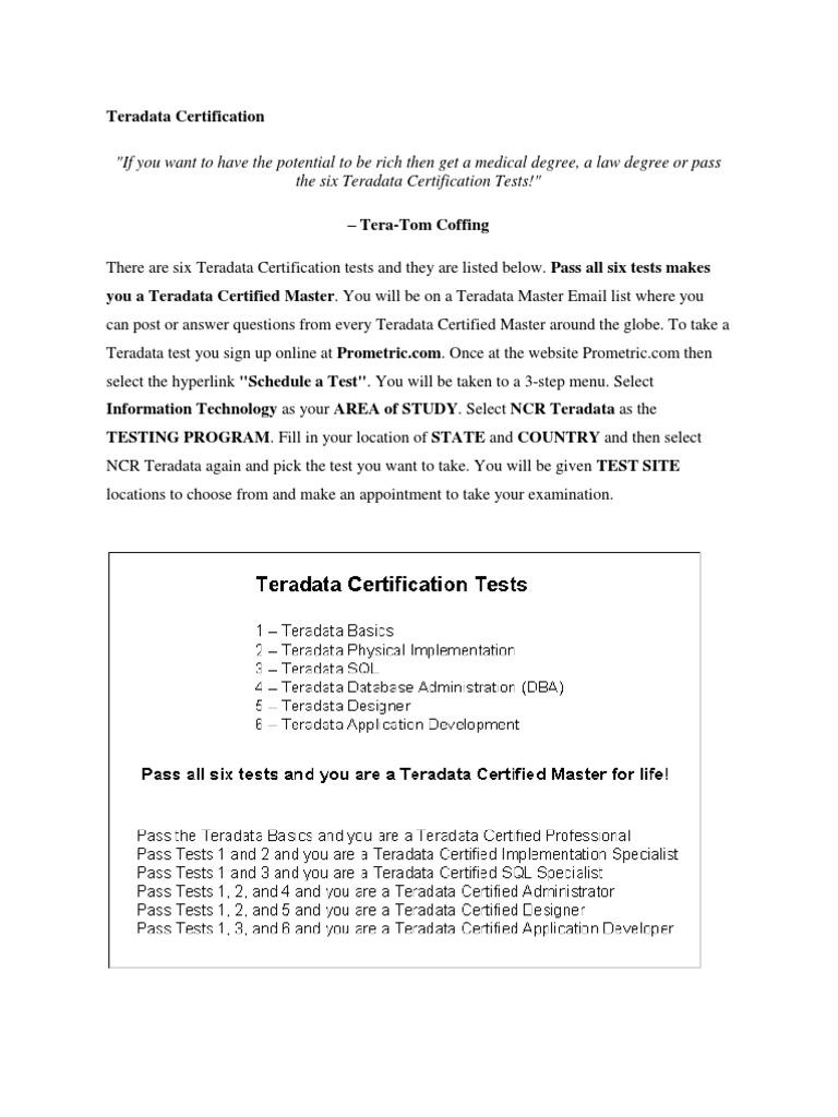 Teradata Certification Database Index Table Database