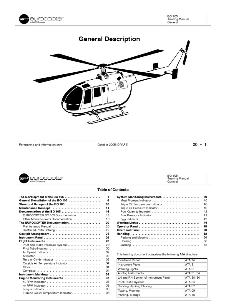 000 bo105 section 00 helicopter rotor airspeed rh scribd com Augusta 109 flight manual bo 105