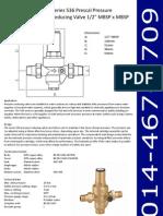 Series 536 Prescal Pressure Reducing Valve 1-2Inch MBSP