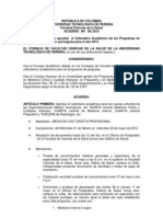 Acuerdo 001 de 2012 Especializaciones Medicoquirurgicas