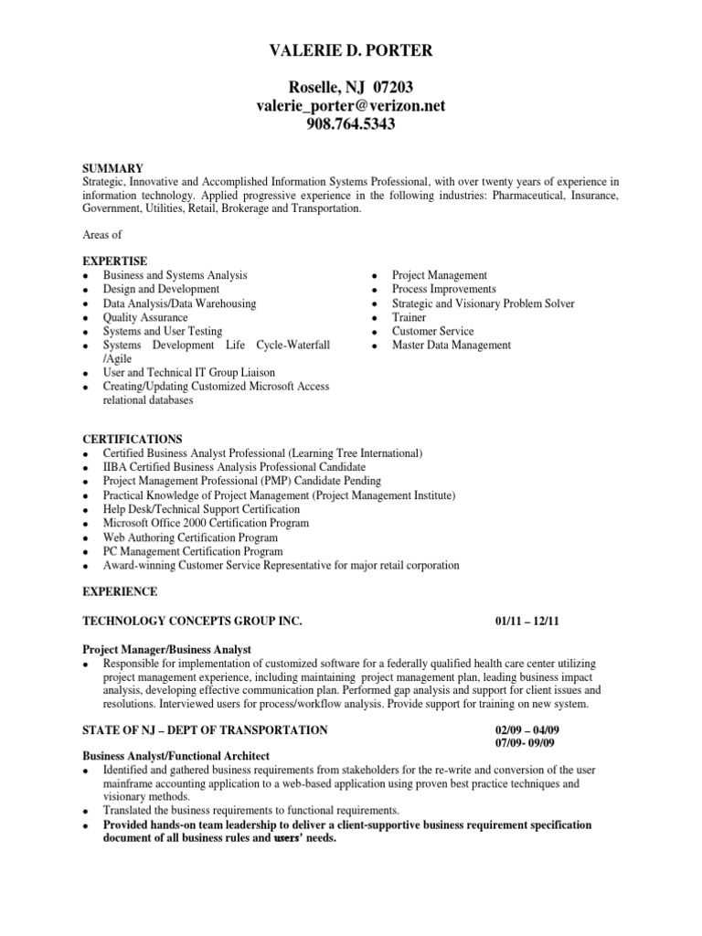 Business Analyst Project Manager In Nj Ny Resume Valerie Porter