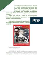CARTA DE ALEXANDER ALMEIDA À REVISTA SUPERINTERESSANTE SOBRE PESQUISAS ESPÍRITAS