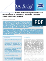 Creating Space for Child Participation in Local Governance in Tanzania