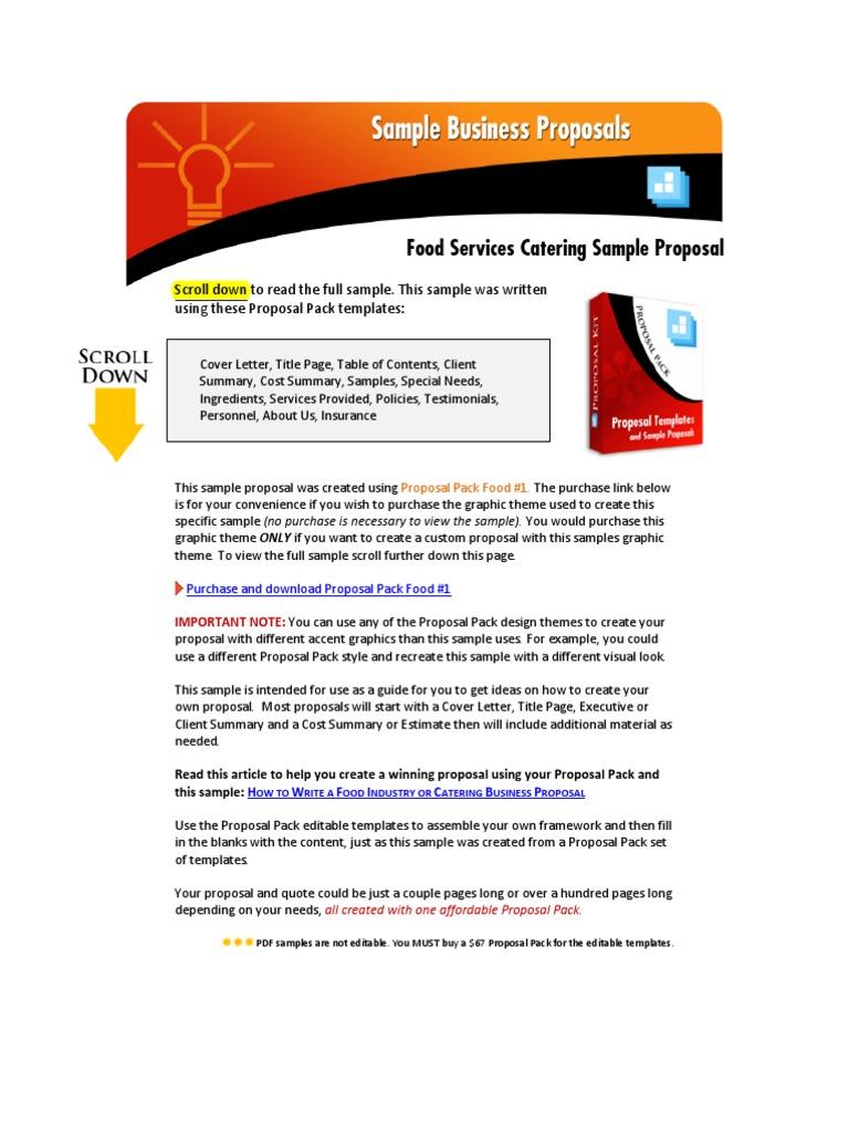 Sample Catering Proposal | Chef | Menu