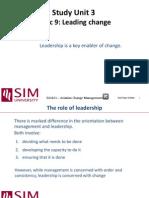 SU3 Topic 9 - Leading Change