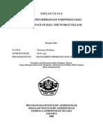 Draft Tesis Pengembangan Pariwisata Bali ( Batal dipakai)