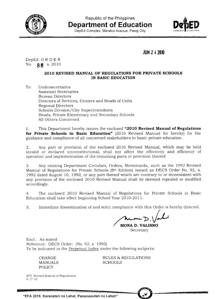 2010 manual for schools deped do no 88 s 2010 rh scribd com deped educational facilities manual 2012 deped educational facilities manual pdf