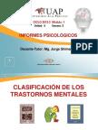 Clasificación de los Trastornos Mentales