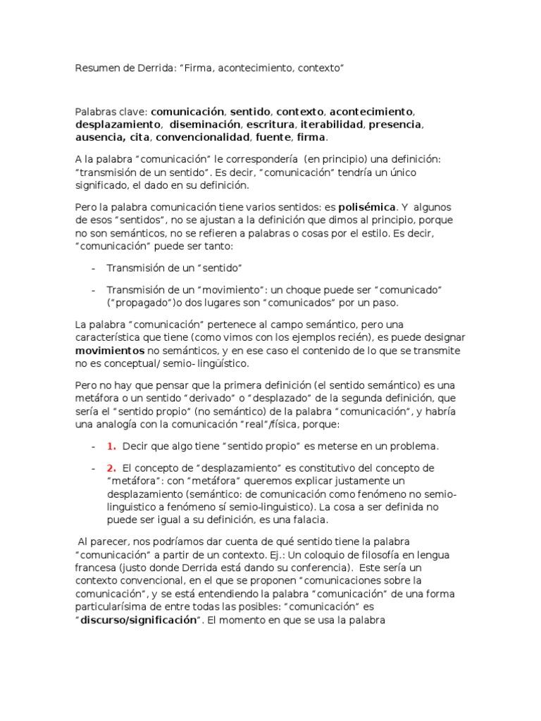 Resumen de Derrida Firma, Acontecimiento Contexto