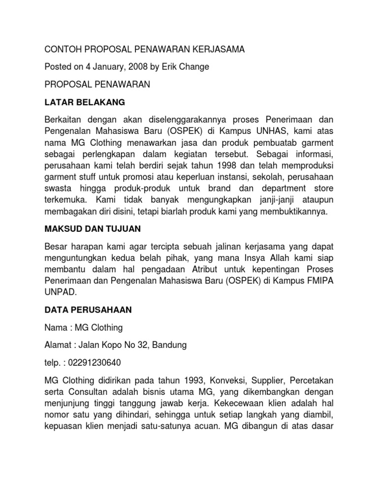 Contoh Proposal Penawaran Produk Pdf Download Speedpoks