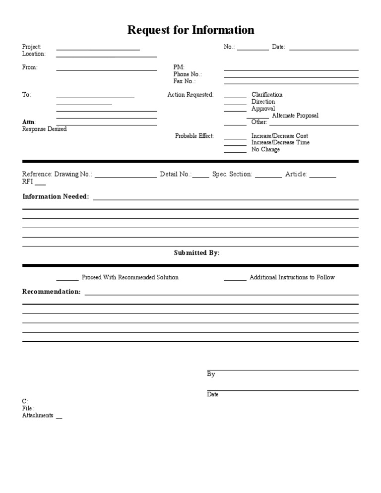 rfi form Blank Sample RFI Form