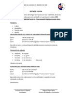 NOTA DE PRENSA - PRIMEROS JUEGOS DEPORTIVOS DE EXALUMNOS FRANCISCANOS 2012