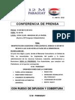 Conferencia, Convocatoria y Manifiesto 12M Paraguay