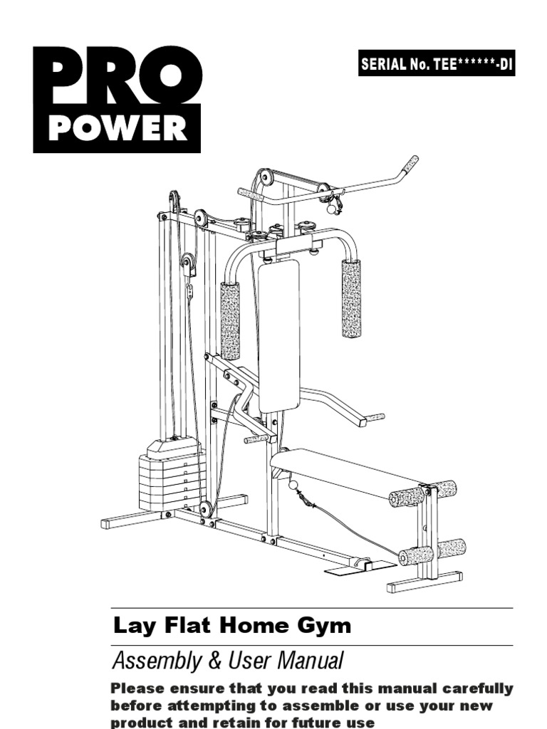 Pro power lay flat home gym inst di v washer hardware