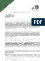 Carta a La Comunidad Universitaria