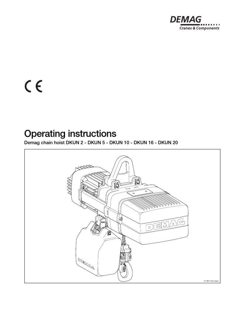 Demag DKUN Hoist Operating Manual | Electrician | Safety on power pdf, body diagram pdf, battery diagram pdf, plumbing diagram pdf, data sheet pdf, welding diagram pdf,