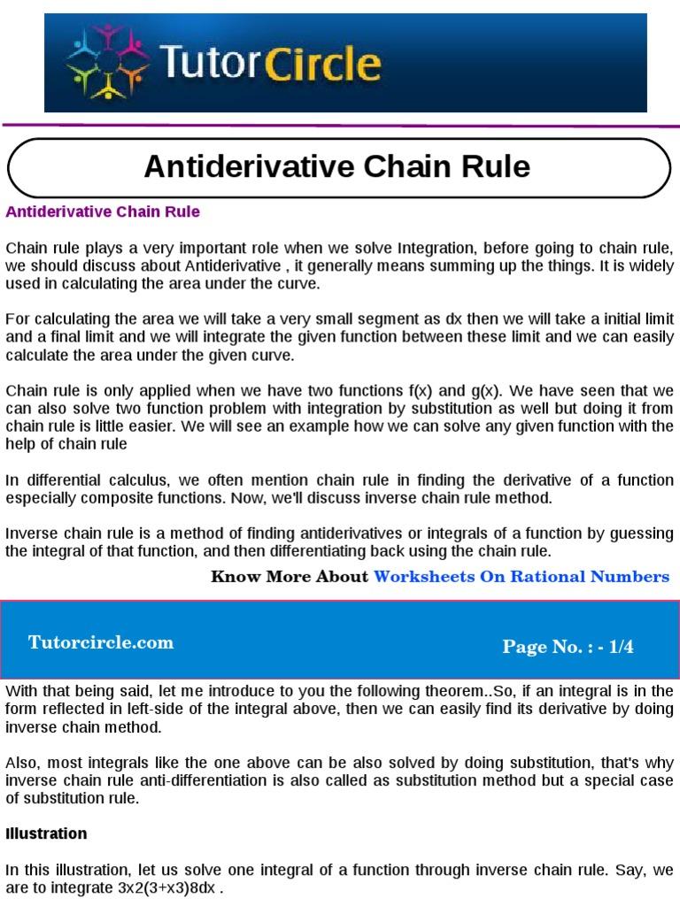 Anti Derivative Chain Rule Integral Derivative