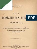 De La Romanii Din Turcia Europeana - Ioan Nenitescu - 1895
