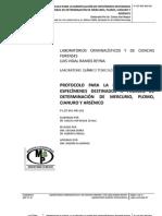 Protocolo para la manipulación de especímenes biológicos