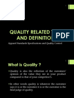 Quality Related TermsDefinitions