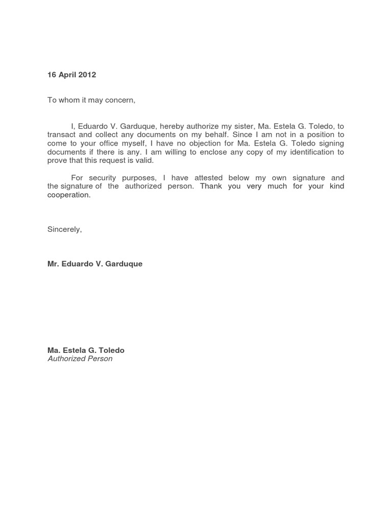 Exceptional Authorization Letter Nice Look