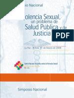"""Memoria """"Simposio Nacional Violencia Sexual, un problema de salud pública y justicia social"""" - Ipas Bolivia"""