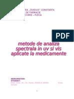 Metode Spectrale de Analiza in UV Si VIS Aplicate La Medicamente