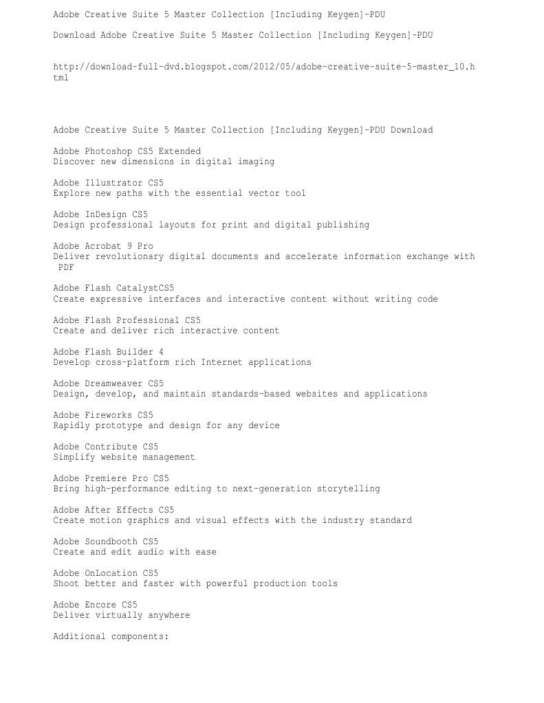 Adobe creative suite 5 application