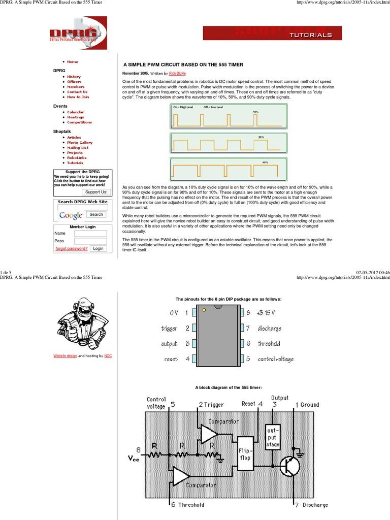 Pwm Circuit Using 555 Timer