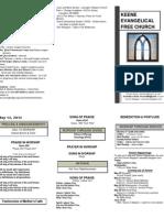 Church Bulletin -May 13th