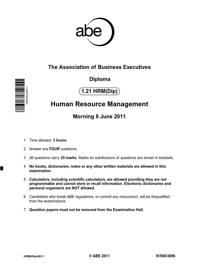 abe hrm past paper human resource management corporate social rh es scribd com HR Manual Sample Human Resources Manual