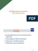 Biomédicaments en France - Etat des lieux 2011