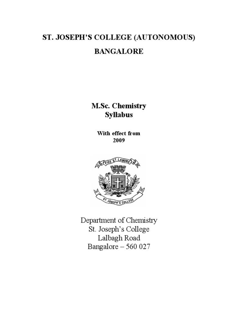 Syllabus Of Msc Analytical Chemistry St Joseph S College