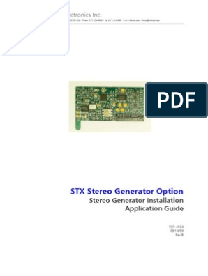 STX LP Stereo Generator Install Application Guide | Personal