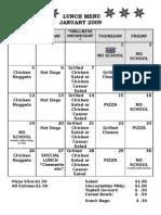 Lunch Calendar Jan
