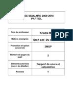 3MGP,BQ - Partiel Droit patrimonial du chef d'entreprise (énoncé) 2009-2010