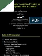 08 Shotcrete Quality Control & Testing for an Underground Mine in Canada