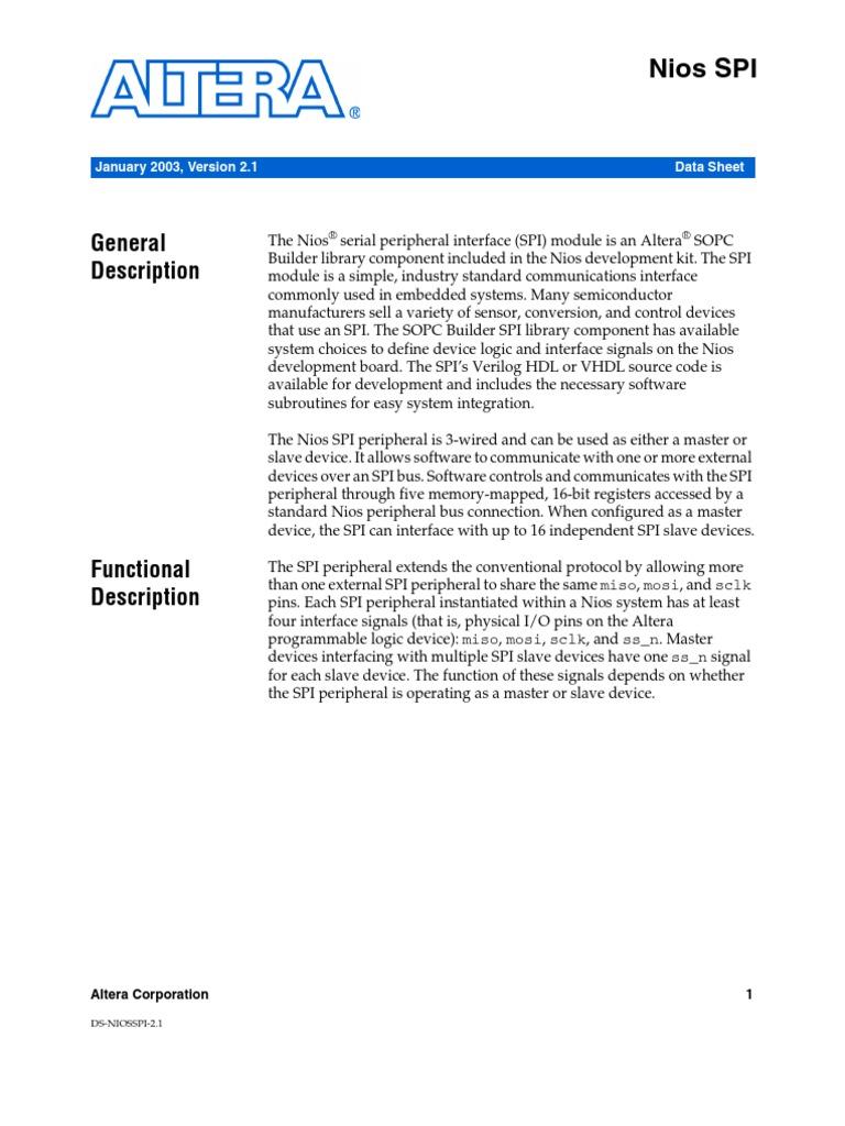 Spi Datasheet | Input/Output | Computer Architecture