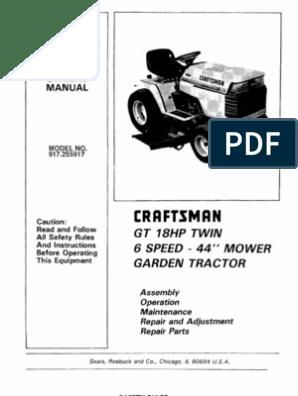 23302 craftsman gt18 garden tractor 917 255917 tractor lawn mower Old Sears Craftsman Garden Tractors