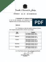 CNJ - Sessões no 2. semestre/2012 - Portaria 64-GP-2012