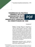 Tendências das política criminal no estado democrático de direito