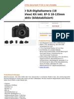 Canon EOS 550D SLR-Digitalkamera (18 Mega Pixel, LiveView) Kit Inkl. EF-S 18-135mm 1 3,5-5,6 is Objektiv