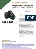 Nikon D60 SLR-Digitalkamera (10 Mega Pixel) Kit Inkl. 18-55mm 1 3,5-5,6G VR Objektiv (Bildstab.)
