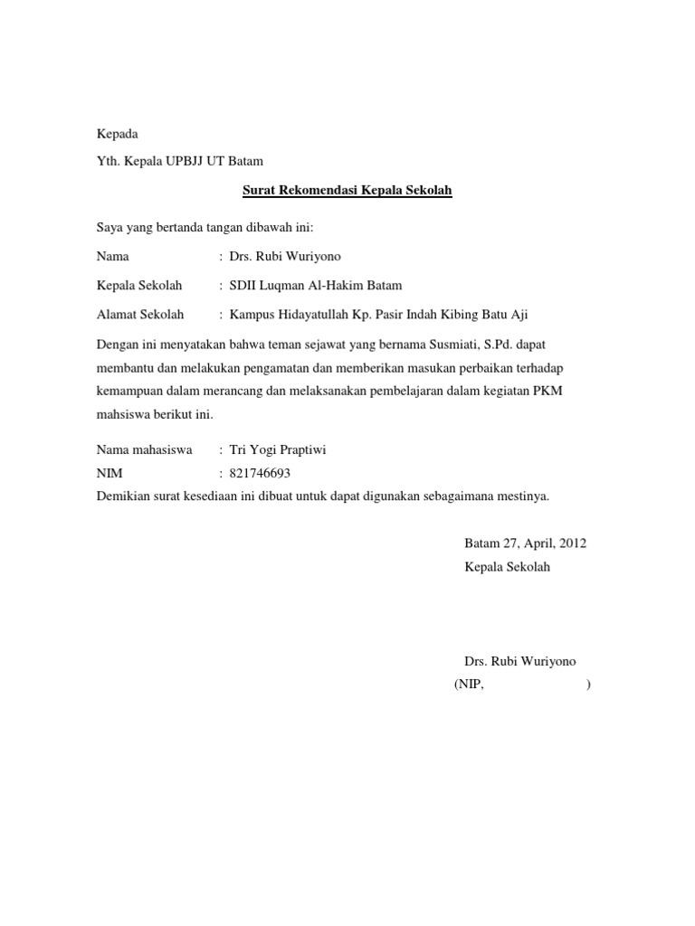 Surat Rekomendasi Kepala Sekolah