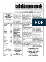 Shabbat Announcements, December 22, 2008