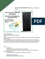 AQUECEDOR SOLAR DE ÁGUA   FEITO COM TUBOS DE PVC