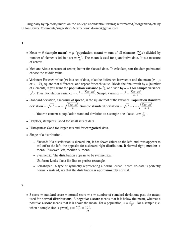 Statistics Study Sheet Normal Distribution Experiment How To Calculate  Standard Deviation With Mean Solution For How