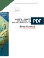AHM 250 Summary